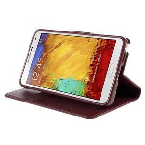 Setsnow PU kožené puzdro na Samsung Galaxy Note 3 - vínové - 4