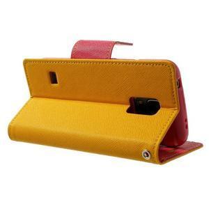 Diary PU kožené puzdro pre Samsung Galaxy S5 mini - žlutooranžové - 4