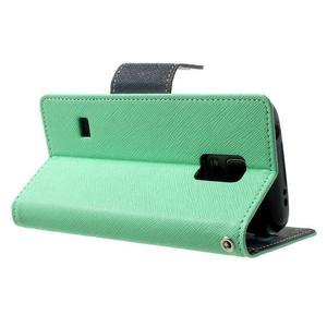 Diary PU kožené puzdro pre Samsung Galaxy S5 mini - azúrové - 4