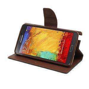 Goosp PU kožené puzdro pre Samsung Galaxy Note 3 - čierné/hnedé - 4