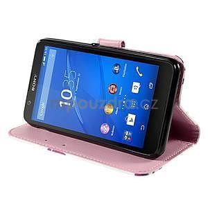 Koženkové pouzdro na mobil Sony Xperia E4 - květy - 4