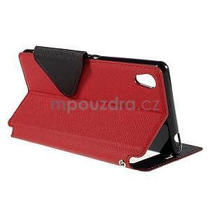 Peňaženkové puzdro s okienkom pre Sony Xperia M4 Aqua - červené - 4