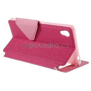 Peněženkové pouzdro s okýnkem pro Sony Xperia M4 Aqua - růžové - 4