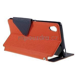 Peňaženkové puzdro s okienkom pre Sony Xperia M4 Aqua - oranžové - 4