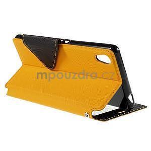 Peňaženkové puzdro s okienkom pre Sony Xperia M4 Aqua - žlté - 4