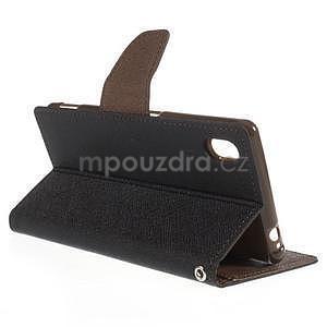 Ochranné puzdro pre Sony Xperia M4 Aqua - čierne/hnedé - 4