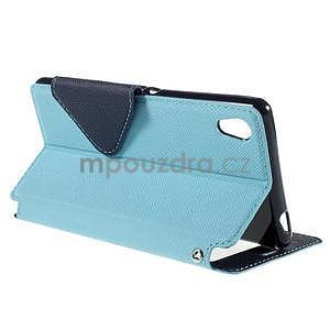 Peňaženkové puzdro s okienkom pre Sony Xperia M4 Aqua - svetlomodré - 4