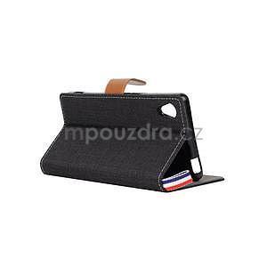 Jeans Peňaženkové puzdro pre mobil Sony Xperia M4 Aqua - čierne - 4