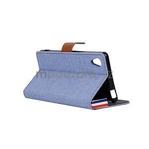 Jeans Peňaženkové puzdro pre mobil Sony Xperia M4 Aqua - svetle modré - 4