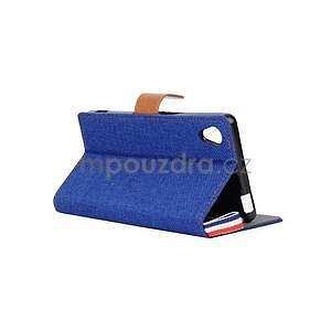 Jeans Peňaženkové puzdro pre mobil Sony Xperia M4 Aqua - modré - 4