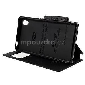 Peněženkové pouzdro s okýnkem pro Sony Xperia M4 Aqua - černé - 4