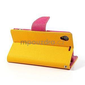 Fancy Peňaženkové puzdro pre mobil Sony Xperia Z1 - žlté - 4