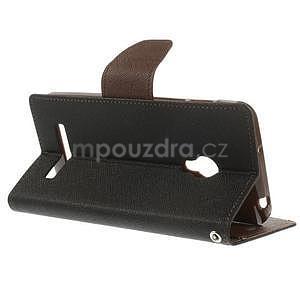 Čierné/hnedé peňaženkové puzdro na Asus Zenfone 5 - 4