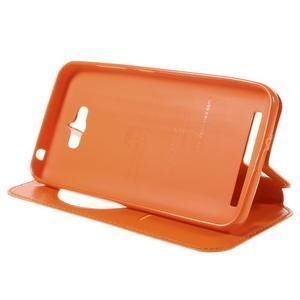 Luxusní puzdro s okienkom pre mobil Asus Zenfone Max - oranžové - 4