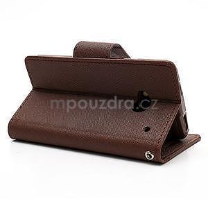 Peňaženkové kožené puzdro pre HTC One M7 - hnedé - 4