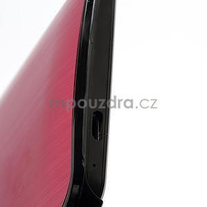 Broušený hliníkový plastový kryt pre HTC One M7 - červený - 4