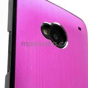 Broušený hliníkový plastový kryt na HTC One M7 - rose - 4