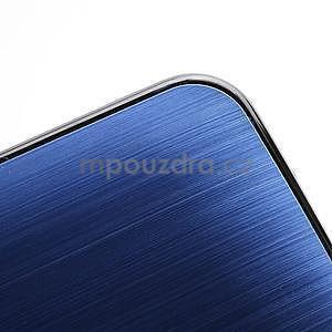 Broušený hliníkový plastový kryt pre HTC One M7 - modrý - 4