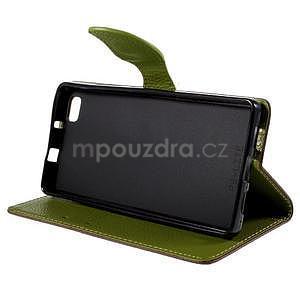 Zapínací PU kožené pouzdro na Huawei P8 Lite - hnědé - 4