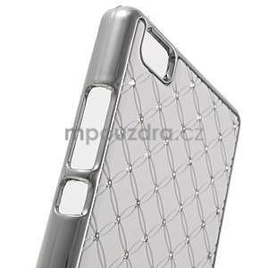 Drahokamový plastový obal na Huawei Ascend P8 Lite - bílý - 4