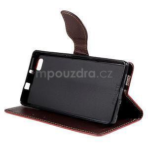 Zapínací PU kožené pouzdro na Huawei P8 Lite - červené - 4