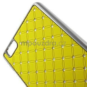 Drahokamový plastový obal na Huawei Ascend P8 Lite - žlutý - 4