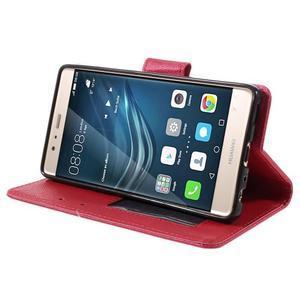 Crossy peňaženkové puzdro na Huawei P9 - červené - 4
