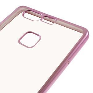 Stylový gelový obal s růžový lemem na Huawei P9 - 4