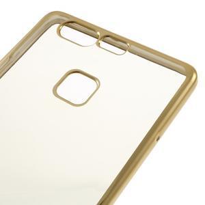 Stylový gelový obal se zlatým lemem na Huawei P9 - 4