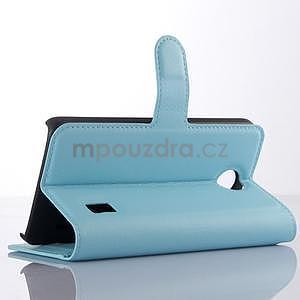 Modré zapínacie PU kožené puzdro na Huawei Y635 - 4