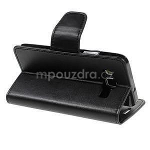 Čierné kožené peňaženkové puzdro pre Samsung Galaxy A3 - 4