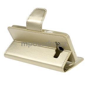 Zlaté kožené peňaženkové puzdro na Samsung Galaxy A3 - 4