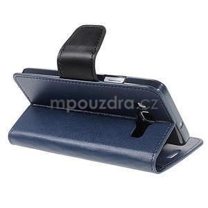 Tmavě modré kožené peňaženkové puzdro na Samsung Galaxy A3 - 4