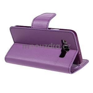 Fialové kožené peňaženkové puzdro pre Samsung Galaxy A3 - 4