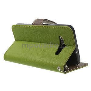 Zelené/hnedé kožené puzdro na Samsung Galaxy A3 - 4