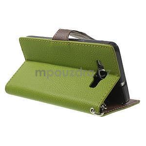 Zelené/hnedé kožené puzdro na Samsung Galaxy A5 - 4