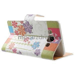 Peňaženkové zapínací puzdro na Samsung Galaxy A5 - farebné květiny - 4