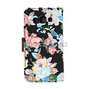 Květinové peňaženkové puzdro na Samsung Galaxy A5 - čierné - 4