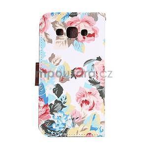 Květinové peňaženkové puzdro na Samsung Galaxy A5 - biele - 4