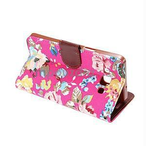 Květinové peňaženkové puzdro na Samsung Galaxy A5 - rose - 4