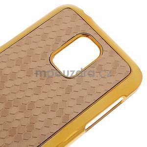 Béžové elegantní plastové puzdro se zlatým lemem pre Samsung Galaxy S5 mini - 4