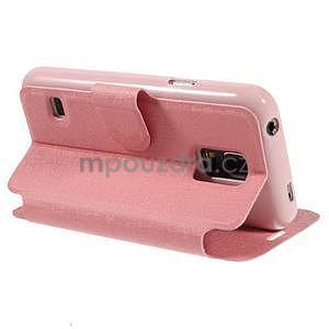 Růžové zapínací pouzdro na Samsung Galaxy S5 mini - 4