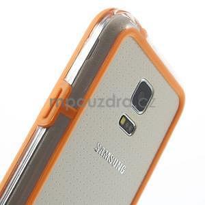 Oranžový gélový kryt s plastovými lemy pre Samsung Galaxy S5 mini - 4