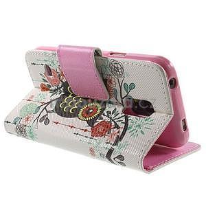 Zapínací peňaženkové puzdro pre Samsung Galaxy S5 mini - kvetinová sova - 4