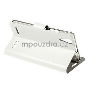 Peňaženkové PU kožené puzdro na Lenovo A6000 -  biele - 4