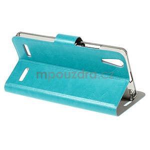 Peňaženkové PU kožené puzdro na Lenovo A6000 -  modré - 4
