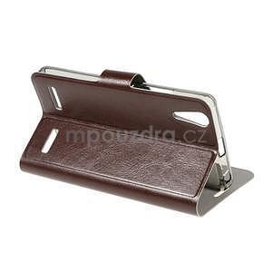 Peňaženkové PU kožené puzdro na Lenovo A6000 -  hnedé - 4