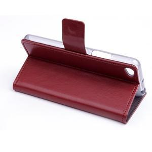 Peňaženkové PU kožené puzdro pre Lenovo S60 - hnedé - 4