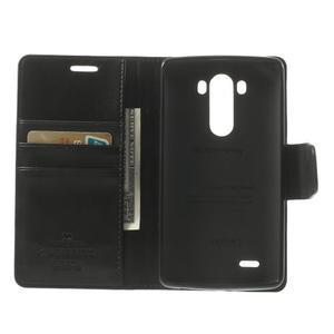 PU kožené pouzdro na mobil LG G3 - černé - 4