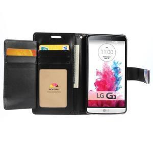 Luxusní PU kožené puzdro pre mobil LG G3 - čierne - 4